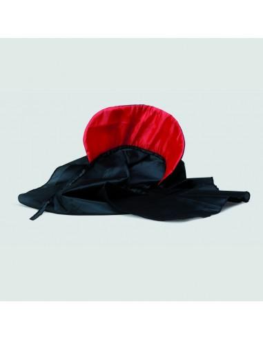 CAPA TELA NEGRA cuello rojo 90cm